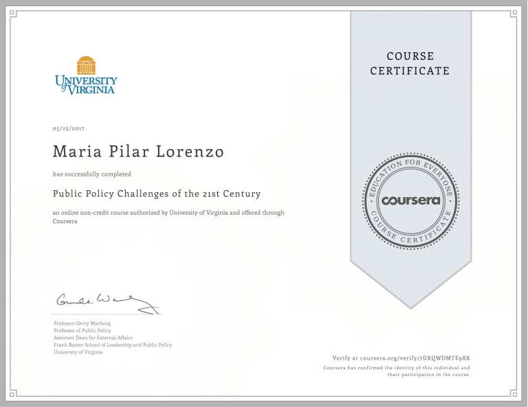 UNIV OF VIRGINIA Public Policy Challenges Certificate-1